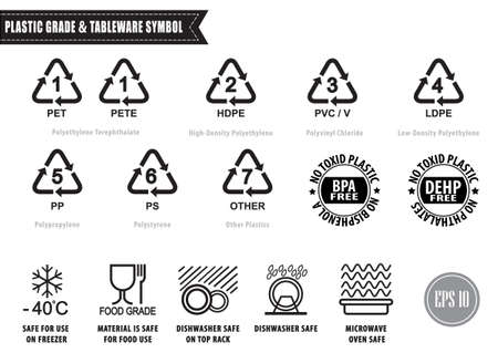 Plastic recycling symbols and tableware sign, isolated