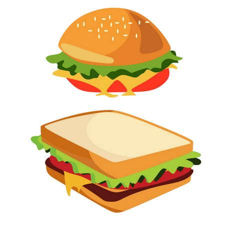 Junk Food Cheeseburger en sandwich geïsoleerd, doodle stijl