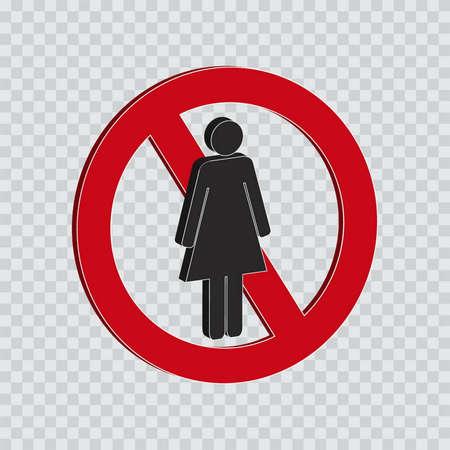 allowed: do not enter for women or not allowed sign Illustration
