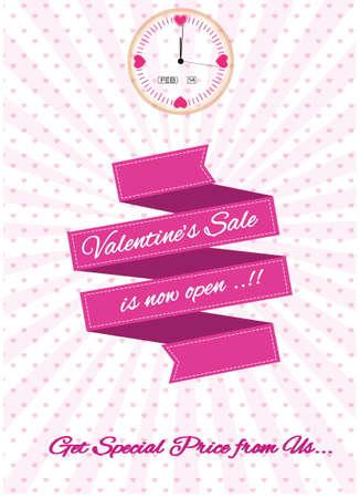 modify: Valentine Sale Design Template illustration, for website content, poster, invitation card and brochure. easy to modify Illustration