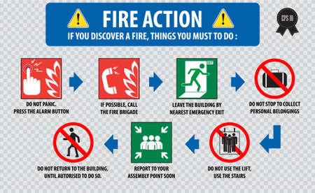 evacuacion: Acción Fuego procedimiento de emergencia (procedimiento de evacuación) Vectores
