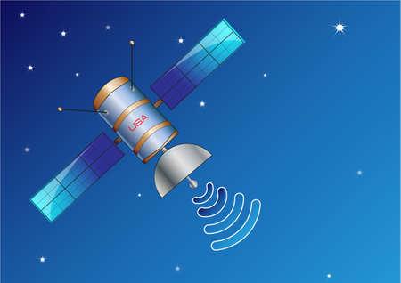 artificial satellite: Satellite in space Illustration, easy to modify