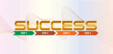 modify: success step illustration, with step by step arrow. easy to modify Illustration