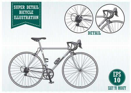 Super detail bike or bicycle illustration, easy to modify. Çizim