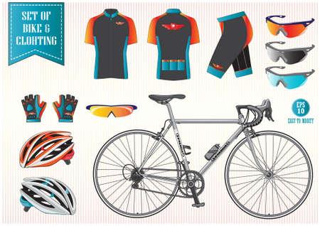 ciclismo: Bicicleta o ropa de bicicletas ilustraci�n, f�cil de modificar