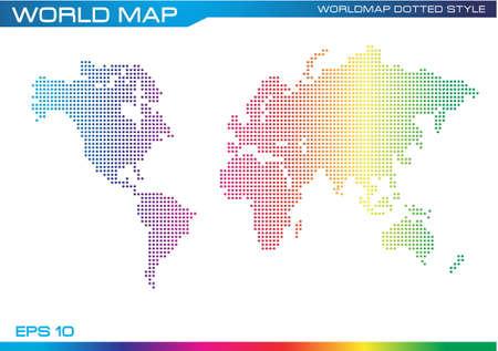 modificar: colorear mapa del mundo estilo de puntos ilustraci�n completa, f�cil de modificar