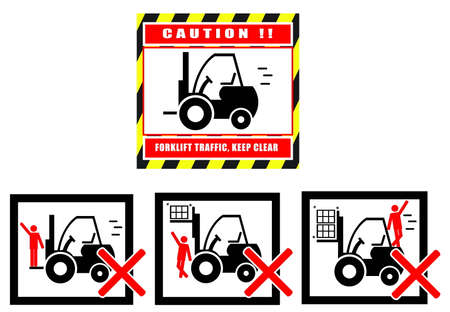 forklift truck: Hazard Warning Sign Forklift Truck