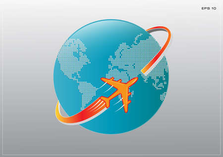 comercial: illustration of airplane around Earth map with dotted style, easy to modify