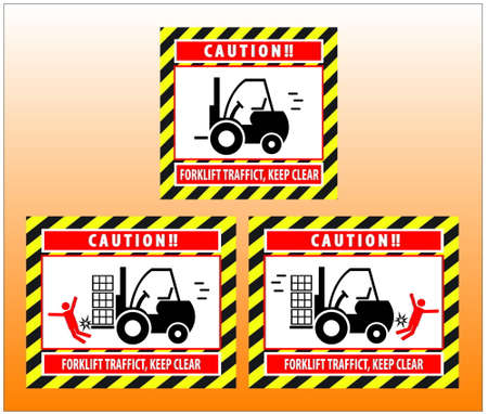 unsafe: Hazard Warning Sign Forklift Truck