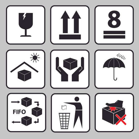 max: Set Of Packaging Symbols (this side up, handle with care, fragile, keep dry, keep away from direct sunlight, do not drop, do not litter, use only the trolley, use fifo system, max carton, recyclable). Illustration