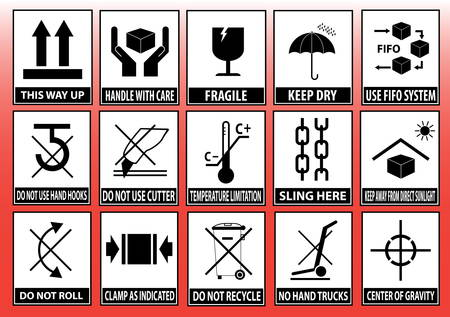 Set Of Packaging Symbols (this side up, handle with care, fragile, keep dry, keep away from direct sunlight, do not drop, do not litter, use only the trolley, use fifo system, max carton, recyclable). 版權商用圖片 - 36129043