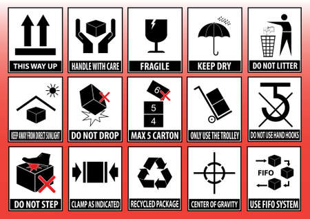 Set Of Packaging Symbols (this side up, handle with care, fragile, keep dry, keep away from direct sunlight, do not drop, do not litter, use only the trolley, use fifo system, max carton, recyclable). 向量圖像