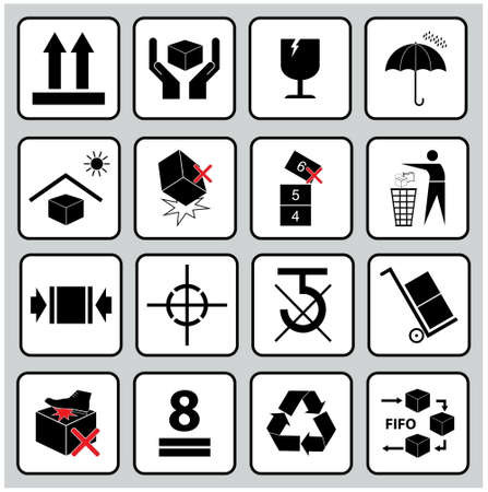 Set Of Packaging Symbols (this side up, handle with care, fragile, keep dry, keep away from direct sunlight, do not drop, do not litter, use only the trolley, use fifo system, max carton, recyclable).  イラスト・ベクター素材