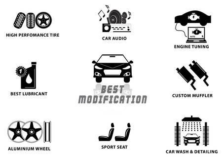 car tuning: CAR MODIFICATION (high performance tire, audio, engine tuning, lubricant, custom muffler, alumunium wheel, sport seat, car wash detailing) illustration, easy to modify