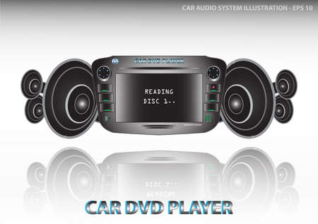 dvd player: Car audio system (video and audiocar dvd player include radiofm tunerequalizer) with speakers illustration, easy to modify
