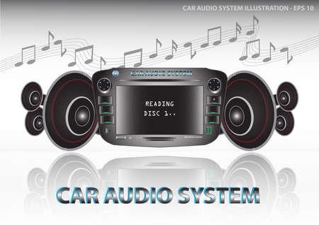 hi fi system: Car audio system (video and audiocar dvd player include radiofm tunerequalizer) with speakers illustration, easy to modify