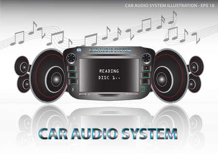 equipo de sonido: Sistema de audio del coche (reproductor de vídeo y audio  DVD del coche incluye radio  sintonizador fm  ecualizador) con altavoces ilustración, fácil de modificar