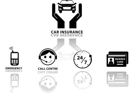 seguros autos: Iconos del seguro de coche Ilustraci�n conjunto, f�cil de modificar