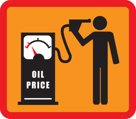commits: the man commits suicide with the pistol of the gasoline pump (FALLING OIL PRICE) illustration, flat design