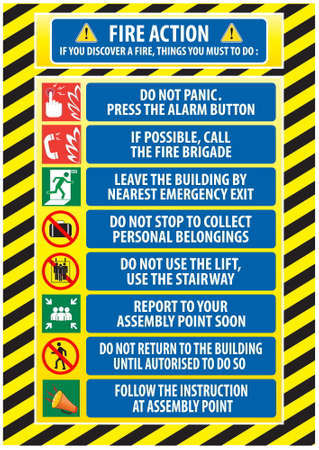 fire extinguisher sign: Fire action emergency procedure (do not panic, call fire brigade, leave by nearest emergency exit, report to assembly point) illustration, easy to modify