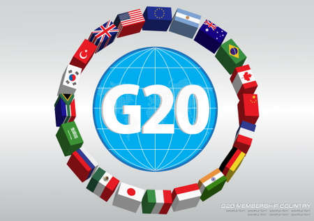 G20 country flags with dotted world map or flags of the world (economic G20 country flag) illustration Illusztráció