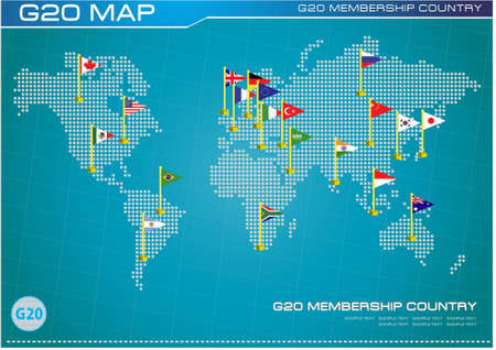 g20: G20 country flags with dotted world map or flags of the world (economic G20 country flag) illustration Illustration