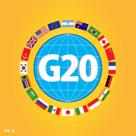 country flags: G20 country flags with dotted world map or flags of the world (economic G20 country flag) illustration Illustration