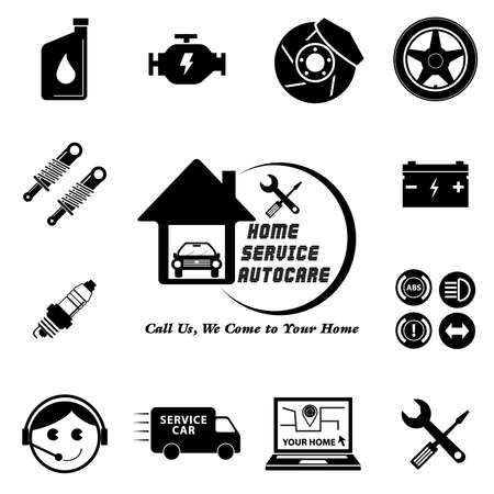 disk break: Car service maintenance icon set (Home Service Auto Care  Call Us, We come to your Home or apartment) illustration, easy to modify Illustration