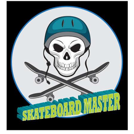 skateboard skull, for tattoo or t-shirt design illustration Vector