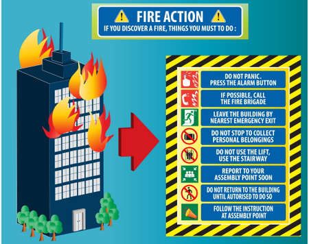 exit emergency sign: Fire action emergency procedure (do not panic, call fire brigade, leave by nearest emergency exit, report to assembly point) illustration, easy to modify