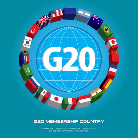 world economy: G20 country flags or flags of the world (economic G20 country flag) illustration