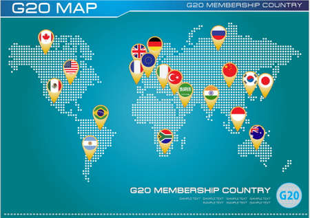 G20 country flags or flags of the world (economic G20 country flag) illustration