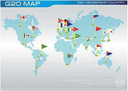 world flags: G20 country flags or flags of the world (economic G20 country flag) illustration