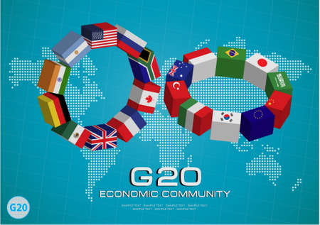 country flags: G20 country flags or flags of the world (economic G20 country flag) illustration