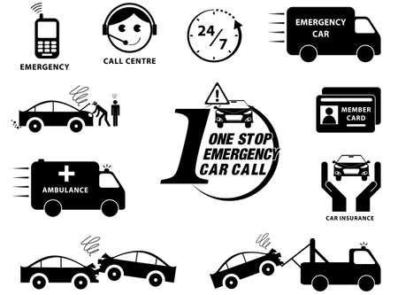 swerving: Car insurance icons set ( One Stop Emergency Call Car) illustration, easy to modify Illustration