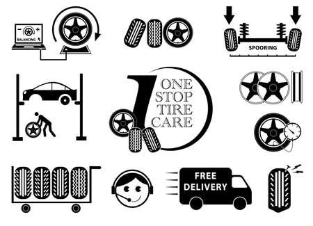 huellas de neumaticos: Taller especializado en neumáticos de coches icono de mantenimiento set (One Stop Tratamiento para Llantas  Spooring, balanceo de llantas) ilustración, fácil de modificar