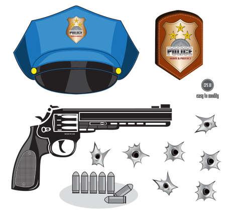 gunshot: gun or pistol illustration with bullets, hat, emblem and hole, isolated Illustration
