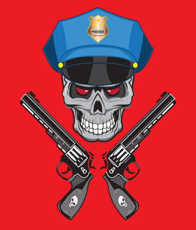 skull police illustration isolated, for tattoo or t-shirt Vector