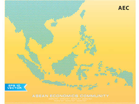 Asean Map dotted style illustration, for background (AEC, AFTA, ASEAN), easy to modify Çizim