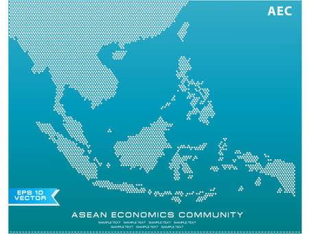 Asean Map dotted style illustration, for background (AEC, AFTA, ASEAN), easy to modify  イラスト・ベクター素材
