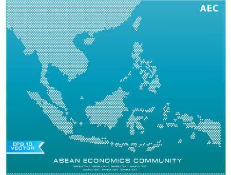 wijzigen: Asean Kaart bezaaid stijl illustratie, voor achtergrond (AEC, AFTA, ASEAN), makkelijk aan te passen Stock Illustratie
