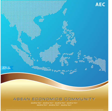 joining the dots: Asean Map dotted style illustration, for background (AEC, AFTA, ASEAN), easy to modify Illustration