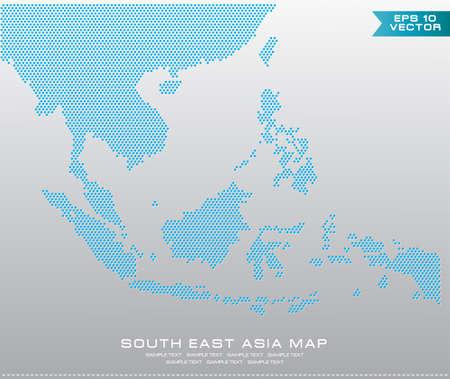 Asean Kaart bezaaid stijl illustratie, voor achtergrond (AEC, AFTA, ASEAN), makkelijk aan te passen Stock Illustratie