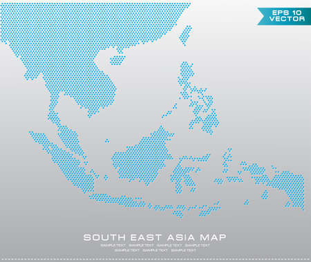 uniting: Asean Map dotted style illustration, for background (AEC, AFTA, ASEAN), easy to modify Illustration