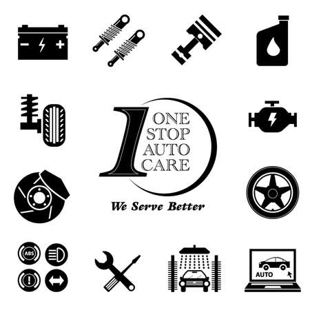 Car service maintenance icon set (One Stop Auto Care) illustration, easy to modify
