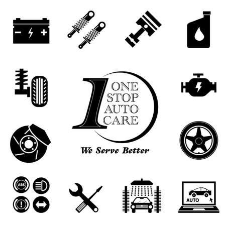 modificar: Servicio de coche icono de mantenimiento set (One Stop Auto Care) ilustraci�n, f�cil de modificar Vectores