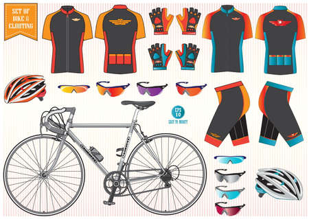 andando en bicicleta: La ropa de la bici o bicicletas y equipos casco de bicicleta ropa sol ilustración vidrio fácil de modificar