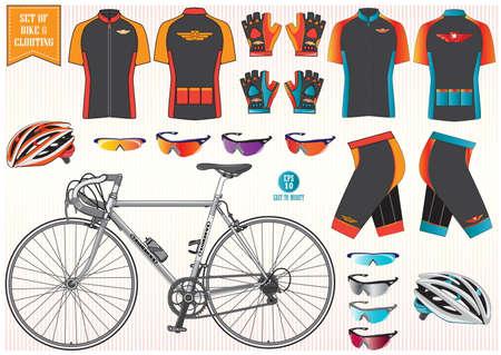 Vélo ou Vélo vêtements et l'équipement casque de vélo vêtements soleil verre illustrations faciles à modifier