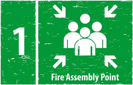 evacuacion: Punto de reunión Fuego Vectores