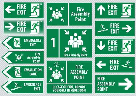 evacuacion: Conjunto de fuego salida Señal de salida de emergencia ensamblaje fuego salida punto de evacuación carril de emergencia Vectores